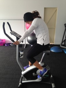Stef on stationary bike